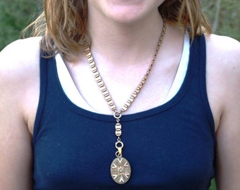 Victorian Bookchain and Locket Necklace Etruscan Gold Filled Antique