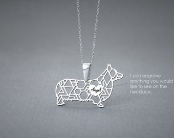 Personalised PEMBROKE WELSH CORGI Necklace - Corgi name Jewelry - Dog Jewelry - Dog breed Necklace - Dog Necklaces