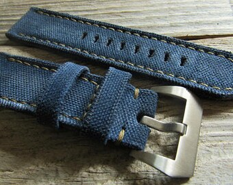Blue canvas strap  custom made for pam