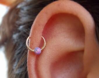 Opal cartilage earring - Helix hoop - Cartilage piercing - Helix jewelry -  Minimal Helix jewelry - Tiny Hoop - piercing hoop