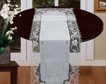 "Handmade Reticella Lace Needle Lace Table Runner 14x50"" White,  Hand Embroidery, Rectangular Dresser Scarf"