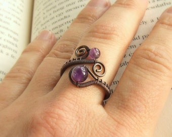 Amethyst copper ring,  purple healing stone jewelry, birthstone jewellery, elegant women gift