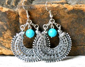 ethnic earrings gypsy earrings silver hoop earrings bohemian earrings turquoise dangle earrings turquoise earrings  boho earrings