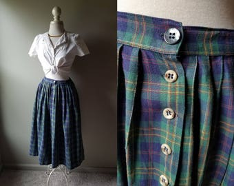 Vintage Abercrombie & Fitch Midi Skirt Plaid Skirt Long Skirt British Skirt School Girl Preppy Grunge Punk Green Plaid Skirt Large Size 12