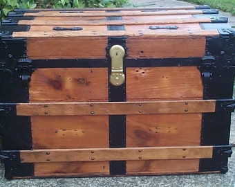 758 Restored Antique Roll Top Trunk, Great as a Military Retirement Gift and Shadow Box Idea, Beautiful Contrasting Hardware and Woods
