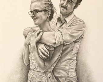 CUSTOM Wedding Portrait || 8x10 Graphite Pencil Drawing || From your photo!