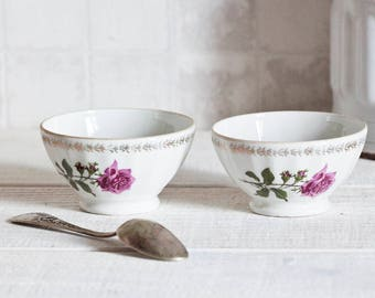 "Set of 2 Vintage french mini ""Café au lait"" bowl rose pattern - French breakfast bowl floral décor - Shabby chic & country style"