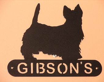 Scottish Terrier ADDRESS / NAME  PLAQUE Sign Home Decor Wall House Metal Personalized Pet Dog Scotty
