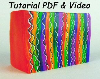 Polymer Clay Tutorial, Crazy Hair Cane, Retro Cane, Polymer Clay Cane, Polymer Clay Class, Polymer Clay Course PDF and Video