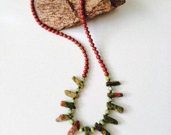 Unakite Tribal Necklace.