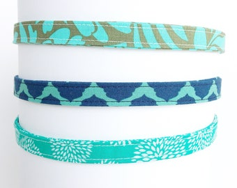 Headbands for Women. Adjustable Fabric Headbands. Gift for Her.  Girls Headband. Thin Headbands. Headbands for adults | Aqua Collection