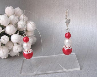 Earrings red and white 3 pearls v1b
