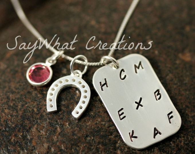 Hand Stamped Sterling Silver Equestrian Necklace Dressage Arena Letters and Horse shoe charm