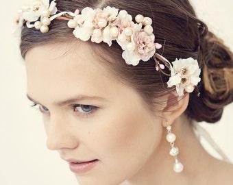 Pink flower crown, rustic head wreath, wedding headband, bridal hair, wedding crown, Rose gold wedding, style **Christina**