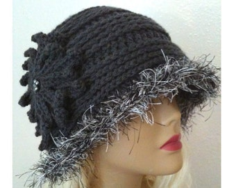 INSTANT DOWNLOAD Elegant Textured Gray Crochet Hat - Crochet Pattern
