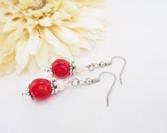 Ruby Red Earrings, Clip On Earrings Dangle, Glass Drop Earrings, Wedding Jewelry Handmade Gift for Daughter, Red White Earrings Gift for Mom