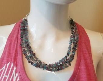 Amethyst chips and painted turquoise chips triple strand necklace