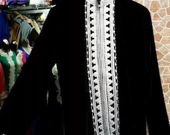 Stunning Bohemian Moroccan Tunic Jacket with Nehru Collar Black Velour  Small
