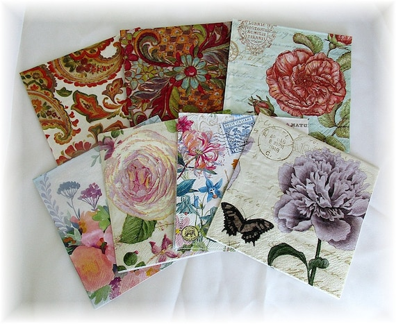 8 Beautiful Napkins For Collage Scrapbooking Decoupage No