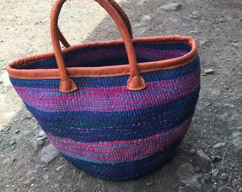 African sisal Baskets  Basket Bag  Multi color Woven Basket  Sisal Bag  Kenyan Bag  Kiondo Basket Bag  African Market Bag  Sisal Handbag