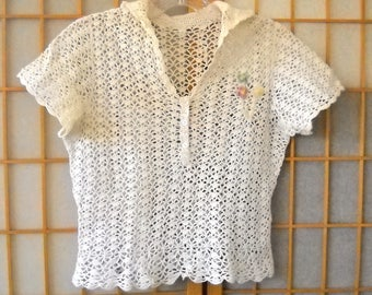 Vintage Button Down Collared Crocheted Short Sleeve Top Small