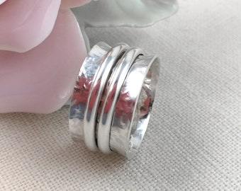 Silver SPINNER RING, Fidget ring, Meditation ring, Wide band ring, Sterling Silver,  Spoon ring, Upcycled jewelry. Size 9 1/4 (Aus Size S).