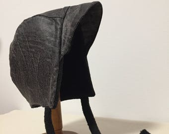 Winter Bonnet | Peak Hat | Baby Hat with Brim | Leather Bonnet | Baby Bonnets | Lined Baby Bonnet | Baby Lid | Hat Black | 18-24 Months