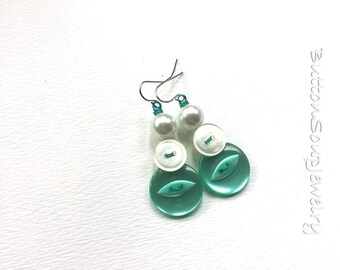 Mint Aqua Turquoise Button Earrings with White Pearl