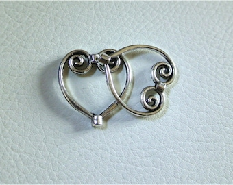 Set of 10 Pearl frames silver heart shape to frame a Pearl