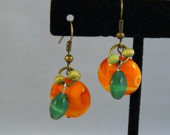 Abstract Pumpkin Earrings