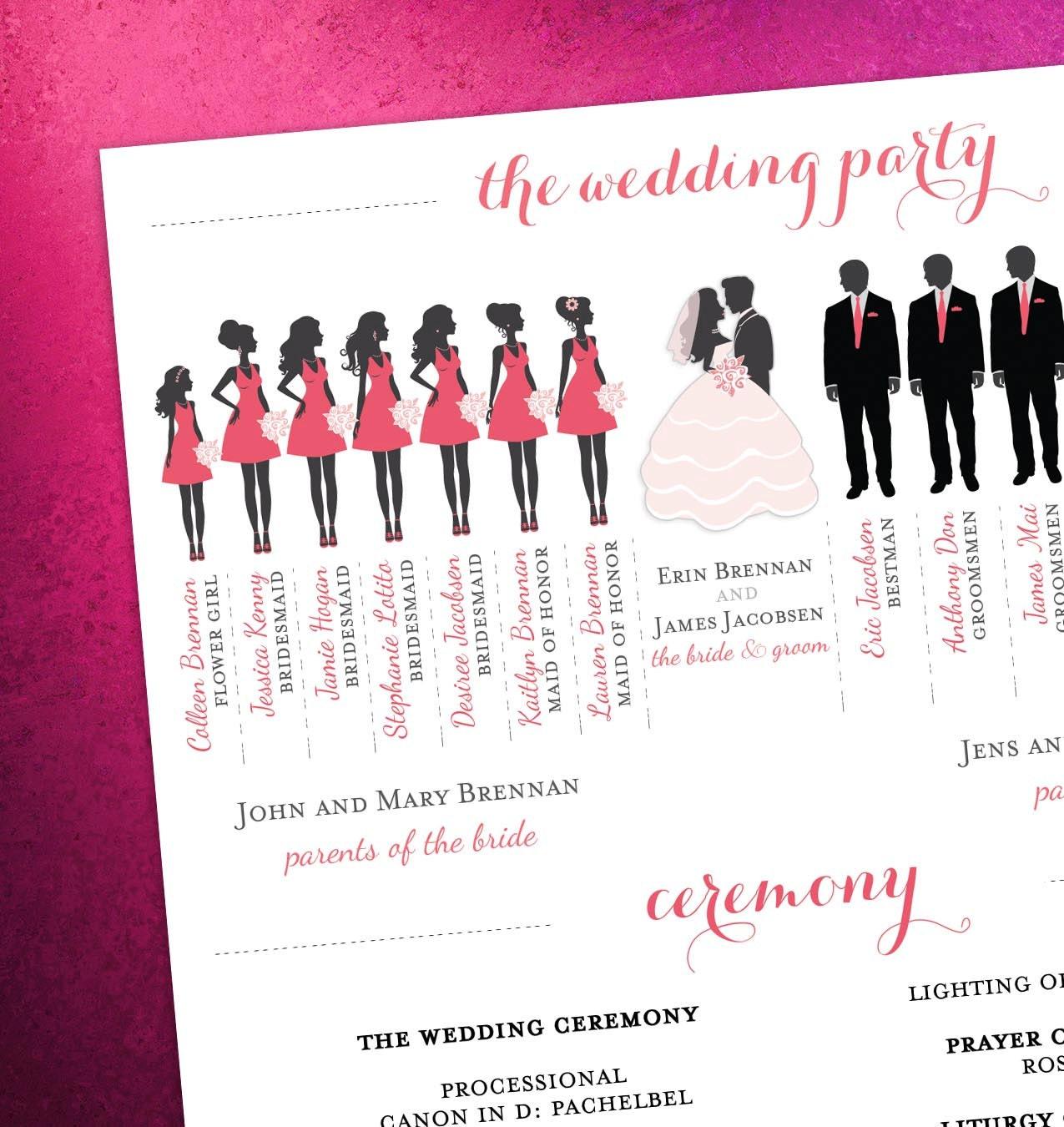 Description Modern Day Wedding Program With Bridal Party