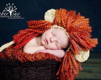 CROCHET PATTERN - Baby Lion Hat - Animal Hat - Halloween Baby Costume - Leo the Lion Heart Hat - Ava Girl Patterns