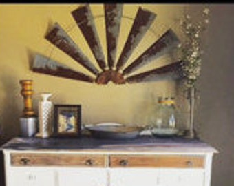 Windmill half -metal -industrial farmhouse wall decor- 47 inch -makes great gift- rustic-farmhouse-home decor-home accents-gift- wall decor