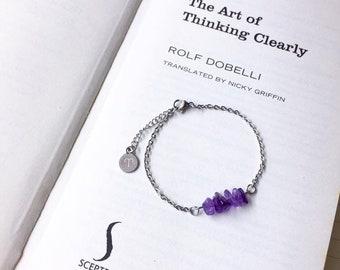 ARIES Bracelet, Horoscope Bracelet, Amethyst Bracelet, Stainless Steel Jewelry, Crystal Bracelet