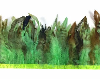 Rooster Feather Trim, 1 yard - LIME GREEN Chinchilla Rooster Saddle Feathers Trim, 4065