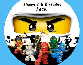 "Ninjago ninja personalised Cake Topper Edible Wafer Paper 7.5"" ninja Zane"