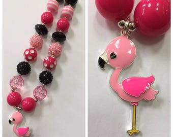 Flamingo Chunky Bead Necklace, Pendant Chunky Necklace, Bubblegum Necklace, Pink & Black Color Necklace