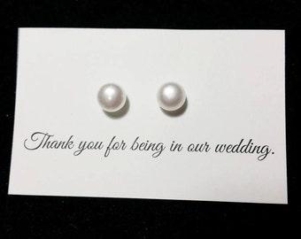 Elegant Pearl Stud Earrings - White Freshwater Pearl, Bridal Earrings, Bridesmaid Earrings, Flower Girl Earrings, Birthday Gift