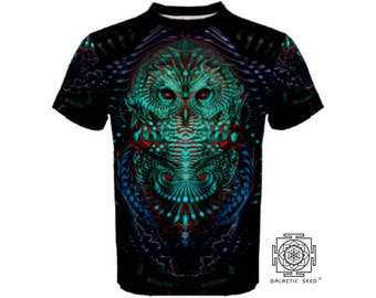 Ascension , Mens Tshirt ,Owl , Sacred geometry , green , nature , rave , bird , dance clothes , Psy ,Festival, flower of life,love