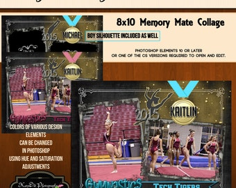 8x10 Memory Mate Twist and Tumble Gymnastics Collage or Storyboard Now Available for INSTANT download  PSD Template