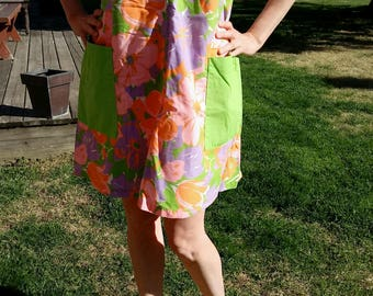 Handmade Vintage House Dress with Bright Florals and Double Pockets
