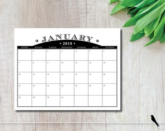 2018 Printable Wall Calendar - 12 Month Home Planner - Black Wall Calendar - Office Calendar, Family Calendar - Instant Download Calendar
