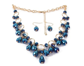 Water Drop Bead Bib Necklace and Matching Earrings