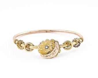 Antique Crescent Moon Victorian Bracelet   Antique Rose Gold Filled Bangle Bracelet