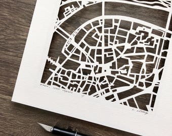 Prague Hand Cut Map ORIGINAL
