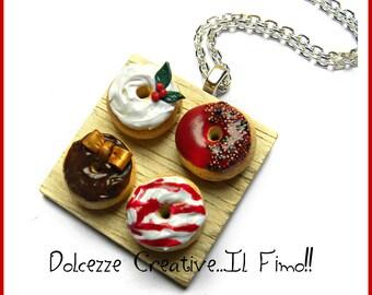 Christmas In Sweetness - Tray with Christmas donut - Donuts - Kawaii Glitter - handmade - polymer clay Holly
