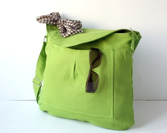Apple Green Cotton Fabric Messenger  Bag  Brown and White Gingham  Bow Adjustable strap school bags