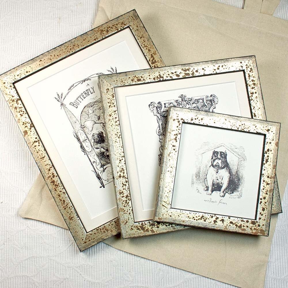 8 x 10 pulgadas antiguo oxidado foto marco bodas de plata/retrato ...