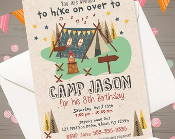 Camping birthday invitation camping birthday party camping birthday invitation boy camping invitation camping party camp invitation camp out birthday backyard campout outdoor birthday party filmwisefo