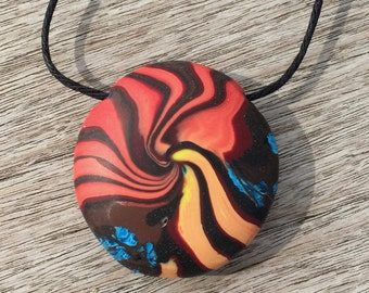 Polymer Clay Pendant, Lentil Pendant, Disc Pendant, Handmade Polymer Clay Bead, Tribal Swirl Pendant, OOAK Polymer Clay Pendant,